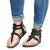 Damen Sandalen Flache Knöchel Schnalle Zehentrenner Flip Flop Sommerschuhe Leder Casual Elegant Schuhe Schwarz Braun Beige Gr.35-43 BK35