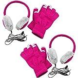 COM-FOUR® SONDERPOSTEN 2x Stylische Kopfhörer mit Touchscreen Handschuhen im Set, in den tollen Farben pink/grau, integriertes Mikrofon und 3,5 mm Klinke Audio Anschluss