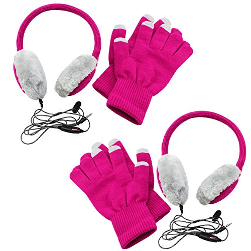 com-four® 2X Stylische Kopfhörer mit Touchscreen Handschuhen im Set, in den tollen Farben pink/grau, integriertes Mikrofon und 3,5 mm Klinke Audio Anschluss (02 Stück)