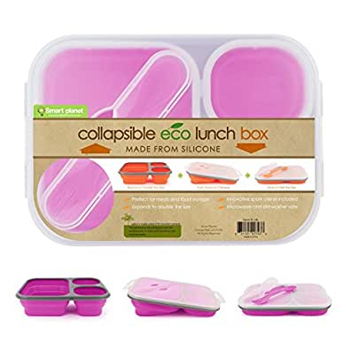 Smart Planet - Silicon Collapsible Meal Kit - Lunch Box - Pink - BPA FREE