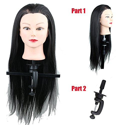 Eseewigs 55,9 cm Bon Marché Noir Capucin Cheveux synthétiques Tête d'entraînement avec pince de maintien pour coupe de cheveux Practise