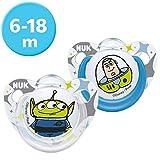 NUK Disney Pixar Toy Story Trendline Silikon-Schnuller, 6-18 Monate, 2 Stück, Buzz / Alien
