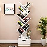 MOMO Einfaches modernes Bücherregal-Bücherregal-Regal, das kreative Baum-Form mit Fach, 37 * 21.2 * 148Cm landet,Weiß-148cm