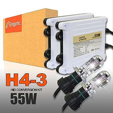 Engync 55W H4 (HB2) (9003) Kit Bi-Xenón HID conversión con premium Balastos y garantía de 3 años   Alta / Baja Diamante Blanco / Hyper blanco / blanco puro de color (6000K)