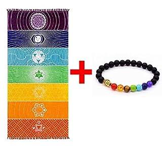 Dick Platz Böhmen Mandala Yoga Decke reine Baumwolle 7 Chakra Yoga Handtuch mit Quasten Regenbogen T (59 * 29,5 Zoll)