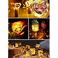 BrizLabs Lumières de Bouteille 2M 20 lumières de Ficelle de Fil de Cuivre de LED sur À Piles Micro Guirlande de Liège pour DIY Decor, Partie, Mariage, Noël, Jardin Etc (Blanc Chaud)