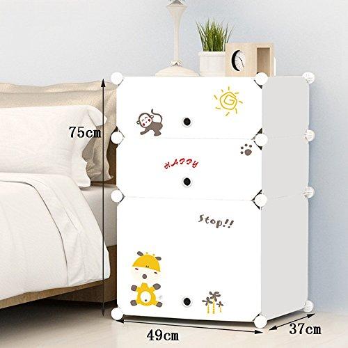 Flashing-DIY Cabinet de lit simple moderne avec portes, résine multifonction Cabinet de lit en plastique PVC, casiers simples Mini armoires de rangement avec des autocollants ( taille : 75*49*37cm )