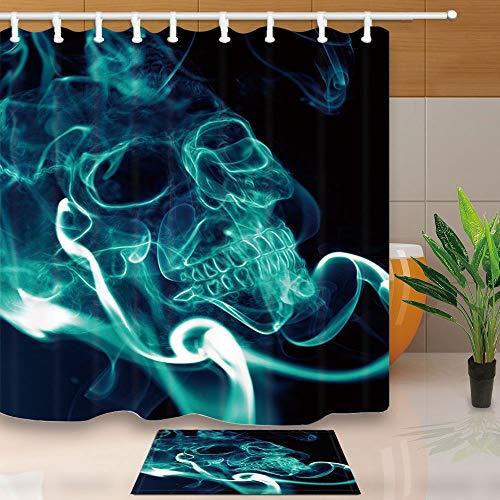 gohebe Creative Duschvorhang Smog Totenkopf smoking Kills schwarz Hintergrund 180x180cm Schimmelresistent Duschvorhang Set mit 39,9x59,9cm Flanell rutschfeste Boden Fußmatte Bad Teppiche (Glitter Teal Hintergrund)