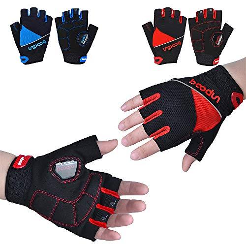 Boosiny Driect Fitness Handschuhe, Voller Handflächenschutz Sporthandschuhe Fahrradhandschuhe, für Kraftsport, Training Radsporthandschuhe für Männer und Frauen (Rot, L)