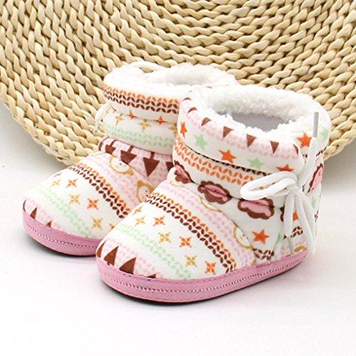 OverDose Baby-Mädchen Jungen neugeborenes Kleinkind Druck lädt weiche dicker Baumwolle vor alleinige Aufladungen warme Schuhe Walker 0-12 Monate Rosa3