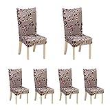 6x elastico della sedia, rimovibile e lavabile per sala da pranzo hotel cerimonia Chair Slipcovers con motivo stampato, banchetto sedia sedile Slipcover for home party Brown