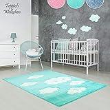 Kinder-Zimmer-Teppich im bunten Wolken Design oder Uni Farben | rund oder rechteckig | Ideal für Jungen, Mädchen oder im Baby-Zimmer | Ökotex Zertifiziert (Mint - Wolken, 80 x 150 cm)