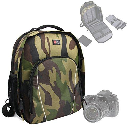 DURAGADGET Sac à Dos résistant à l'Eau pour Appareil Photo Canon 7D Mark II et EOS 1200D, 700D, SX400 is, 100D, 750D et 6D - imprimé Camouflage Vert avec poignée et Bretelles