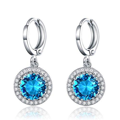 MASOP Damen Ohrringe Weißgold Ohrhänger Silber Aquamarine Klappbügel Ohrschmuck Blau Rund Zirkonia Swarovski Elements