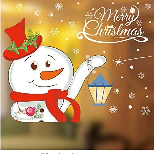 e Weihnachten Glas Dekoration Schneemann Outfit Laterne Tür Shop Aufkleber Zentrum Kommerziellen Schaufenster Teig Malerei ()