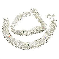 Charms Beads Studded Silver Anklet For Women/Girls ...