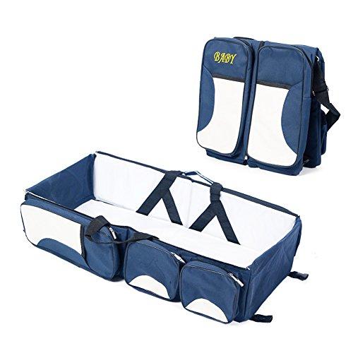 Adoraland Lovelybaby 3 in 1 - Borsa fasciatoio multifunzionale bambino portatile pieghevole bag Baby culla culla Mummy Travel Tote blu