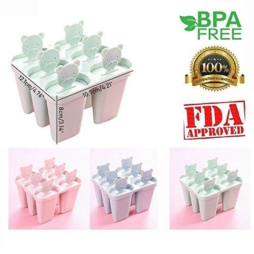 Aolvo Popsicle Formen, Wassereis, 100% Lebensmittelqualität Formen für Eis am Stiel, wiederverwendbar, BPA-frei, 6er-Set grün