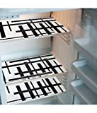 #8: Generic Khushi Creation PVC Classic Refrigerator Drawer mat Fridge Mats(ppq174, Black and White)- Set of 6
