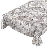 ANRO Tischdecke Wachstischdecke Wachstuch Wachstuchtischdecke Holz Patchwork Holzmuster Grau 100x140cm