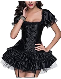 R-dessous Ensemble jupe + corset Tenue de soirée gothique Sexy Noir