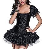 R-Dessous sexy Corsagenkleid Corsage + Rock Mini Kleid schwarz kurz Cocktailkleid Partykleid Abendkleid Gothic, Schwarz, Herstellergroesse XL (42)