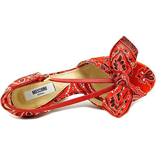 Moschino Bandana Peep Zehe Textile Plateauschuh Red