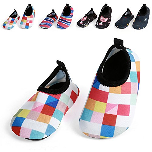 JIASUQI Baby und Kinder Athletic Sneakers Barfu? Wasser Schuhe f¨¹r Beach Swim Pool, Plaid Pink 6-12 Monate (Pink Plaid)