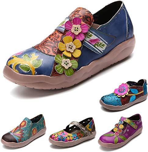 gracosy Damen Leder Slipper, Espadrilles Mary Jane Schuhe Damen Sandalen Halbschuhe Blume Metallic Vintage Leder-Optik Flache Schuhe Blau 38