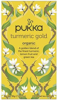 Pukka Turmeric Gold, Organic Herbal Tea with Lemon & Whole Leaf Green Tea, 20 Tea