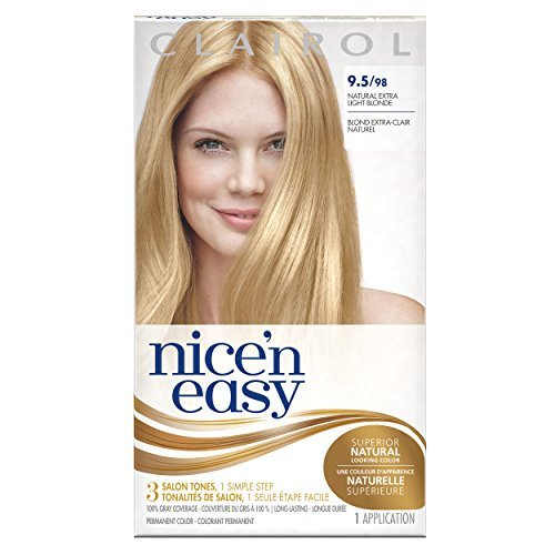 Clairol Nice 'n Easy, 9.5/98 Natural Extra Light Blonde, Permanent Hair Color, 1 Kit by Clairol - Extra Light Natural Blonde