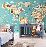 Original Animal Carte Du Monde 3d Dessin Animé Murale Papier Peint pour Enfant Chambre de Bébé Jardin d'enfants 3d Dessin Animé-200X140CM