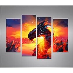 Dragon Cuadro sobre lienzo Cuadros modernos y listos para colgar. Cuadro Impresión fotográfica artística Obra de Arte