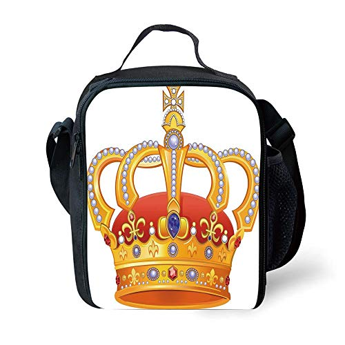 ZKHTO School Supplies King,Royal Crown with Gem Like Image Symbol of Imperial Majestic Print,Red White Blue and Marigold for Girls or Boys Washable Imperial Blue Cup