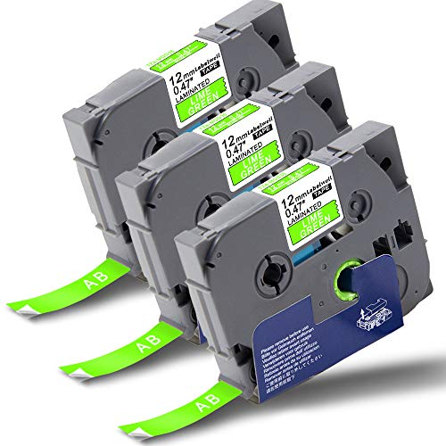 Labelwell TZe-MQG35 12mm x 5m White on Lime Green Tz Tape, 3-Pack Compatible for Brother TZeMQG35 Label Cassette for Brother P-Touch PT-1000 PT-1010 PT-H110 PT-H101C PT-H105 PT-2030VP PT-P750W PT-E100