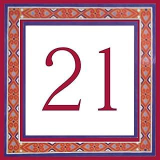 Azul'Decor35 Platten-Straße Individuelle Steingut - 10,8x10,8x0,5cm - Individuelle Hausnummer zur Auswahl!