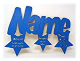 Schlummerlicht24 Led Sterne Trio + Name & Daten Baby Geburtsgeschenk-e Wand-Deko Kind-er mit Namen und Geburtsdaten Junge Mädchen (Blau)