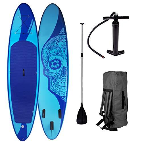 "SUP Board Stand up Paddling Surfboard\""Candy Skull\"" 320x76x15cm aufblasbar Alu-Paddel Hochdruck-Pumpe Rucksack 115KG Tragkraft"