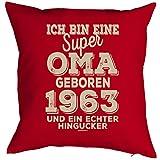 Geschenkidee zum 55 Geburtstag Kissen mit Füllung super Oma geboren 1963 Polster zum 55. Geburtstag für 55-jähirge Dekokissen