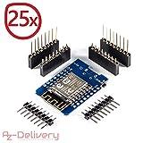 AZDelivery  D1 Mini NodeMcu Lua ESP8266 ESP-12E WLAN WiFi Internet Module Entwicklungsboard für Arduino, 100% kompatibel mit WeMos D1 Mini (25x D1 Mini)
