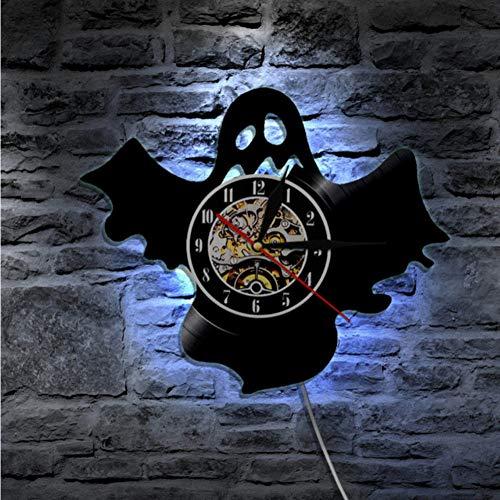 Guokee 1 Stück Halloween Nette Geist Silhouette Wanduhr Handgemachte Moderne Kunst Wandkunstausgangsdekor Schallplatte Wanduhr