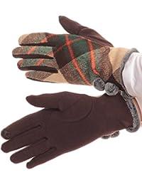Sakkas Valy klassischen Winter Checker Patterned-Pelz-Pom Pom Screen-Handschuhe