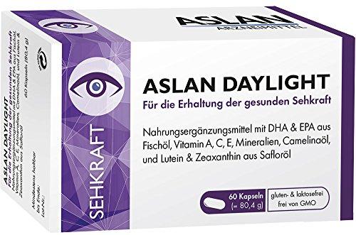Aslan Daylight (60 Kapseln) - Nahrungsergänzungsmittel zur Erhaltung der normalen Sehkraft mit Vitamin A, C, E, DHA, EPA, Zink, Omega-3-Fettsäuren, Lutein und Zeaxanthin
