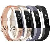 Fitbit Alta HR Armbänder Tobfit Verstellbar Weich Ersatz Armband für Fitbit Alta HR 2017 und Fitbit Alta 2016 (4-Pack Champagner Gold+Schwarz+Rose Gold+Grau, Kleine)