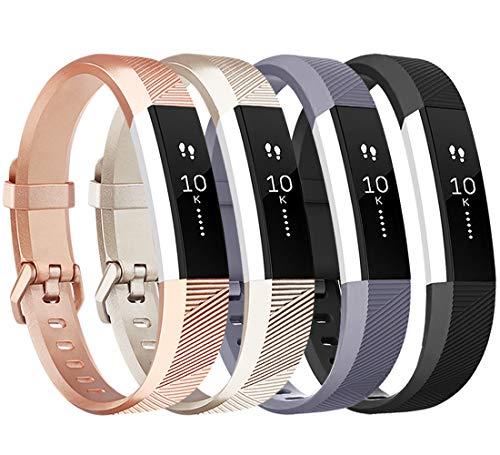 Tobfit Armband für Fitbit Alta HR Armband, Alta Armband Verstellbar Weich Ersatz Armbänder für Fitbit Alta HR und Fitbit Alta (Keine Uhr) (4-Pack Champagner Gold+Schwarz+Rose Gold+Grau, Kleine)