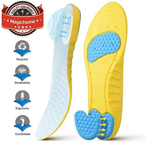 Magichome Einlegesohlen Arbeitsschuhe Schneidbare Sportschuhe für Stoßdämpfung, Fersenschutz und Fußbogenstütze, entlasten Fußschmerzen und Fasciitis