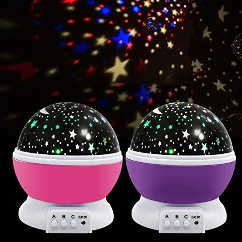 (Edited Sternenhimmel LED Projektionslampe Stern-Mond-Bunte Automatische drehende Projektor Lampe Nachttischlampe, Perfektes Geschenk für Kinder, Geburtstage, Weihnachten, Halloween (Blau))