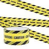 Irich Wasserdicht Warnband Selbstklebend, OPP Warnung Absperrband mit Mutige Schwarze Font für Arbeitsplatz Gefahrenzone (Gelb-Schwarz Geneigte Bar'CAUTION', 25m*4,8cm)