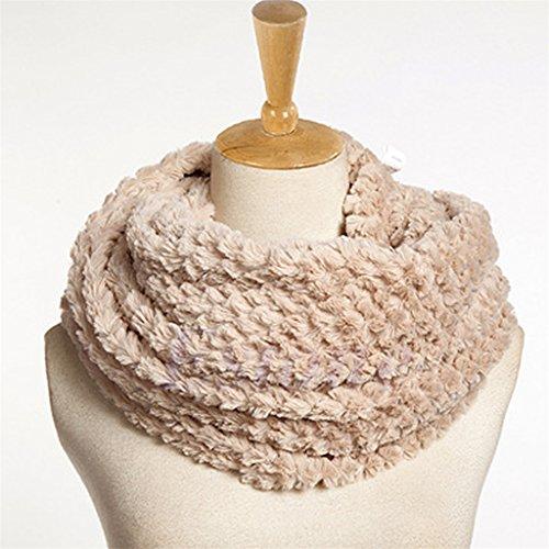 Xuniu sciarpa in cashmere con pelliccia sintetica, belle donne inverno caldo faux fur infinity circle cable cowl neck lungo scialle sciarpa cachi