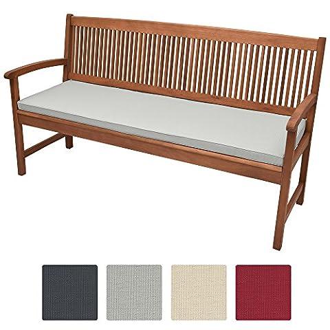 Beautissu Coussin pour banc de jardin, terrasse, balcon Base BK - balancelle - Banquette - Assise confortable - 100x48x5cm Gris clair